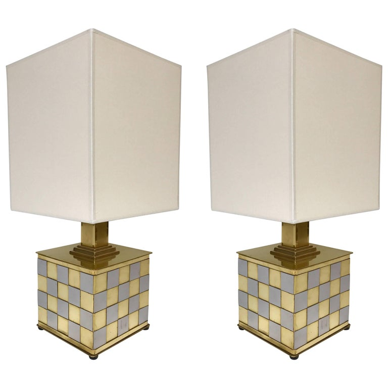 Pair of Brass and Chrome Lamps by Spadafora, Italy, 1970s