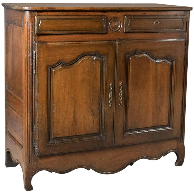 French Antique Sideboard Cabinet, 18th Century Walnut Cupboard