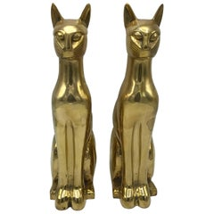 1960s Italian Brass Cat Sculptures, Pair
