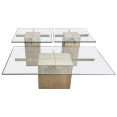 Travertine Marble and Glass Coffee Table and Side Tables by Artedi, Italy