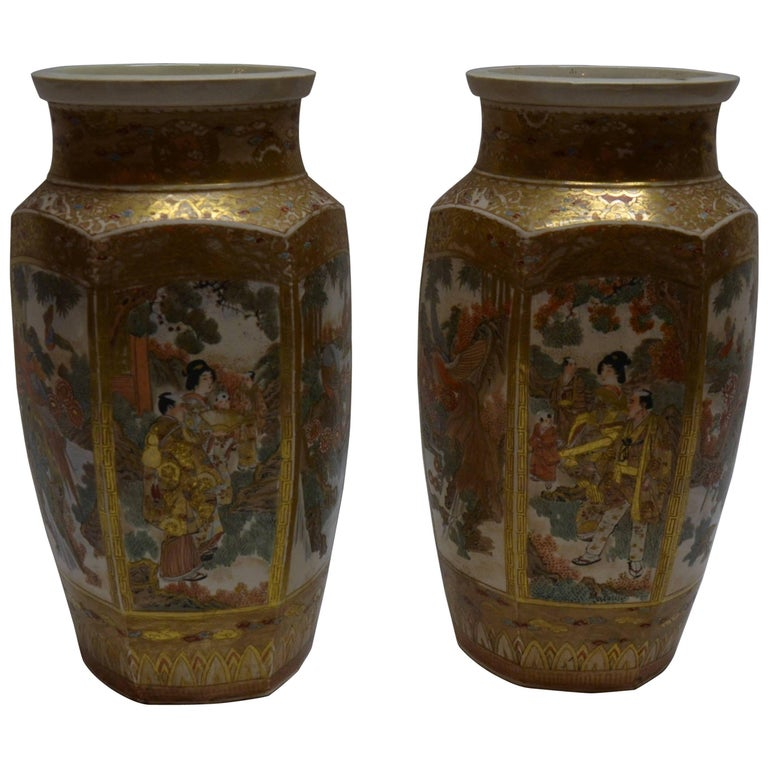 Pair Of Antique Satsuma Japanese Vases For Sale At 1stdibs