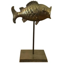 1970s Brass Fish on Stand