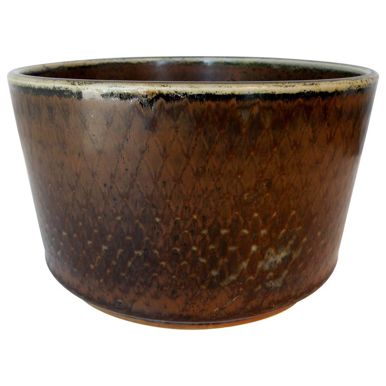 Signed Carl Harry Stalhane Rörstrand Scandinavian Pottery Bowl, Midcentury For Sale