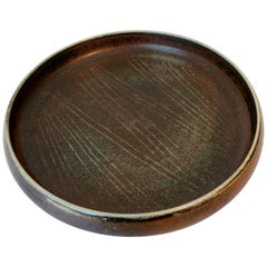 Signed Carl Harry Stalhane Rorstrand Scandinavian Pottery Low Bowl Mid-Century