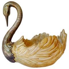 Hollywood Regency Brass Chapman Accessories Swan Centerpiece Bowl
