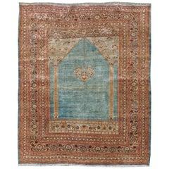 Antique Persian Silk Tabriz Rug