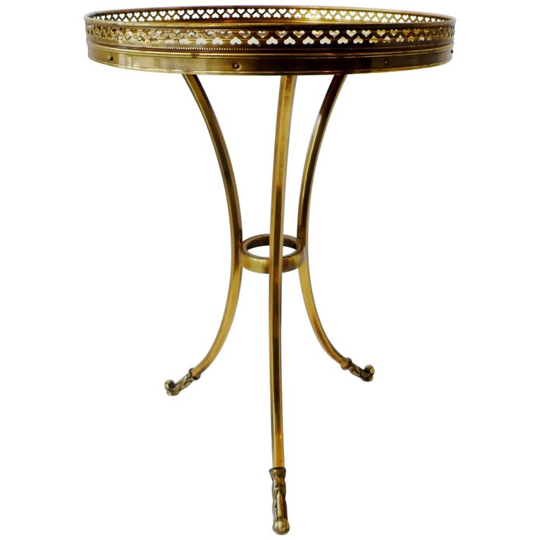 1970s Petite Mastercraft Midcentury Brass Cocktail Side Table with Gallery For Sale