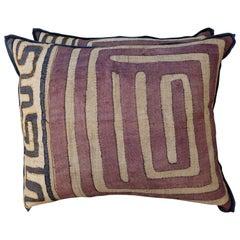 Pair of Aubergine and Wheat African Kuba Pillows