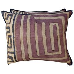 Pair of Aubergine and Wheat African Kuba Pillows