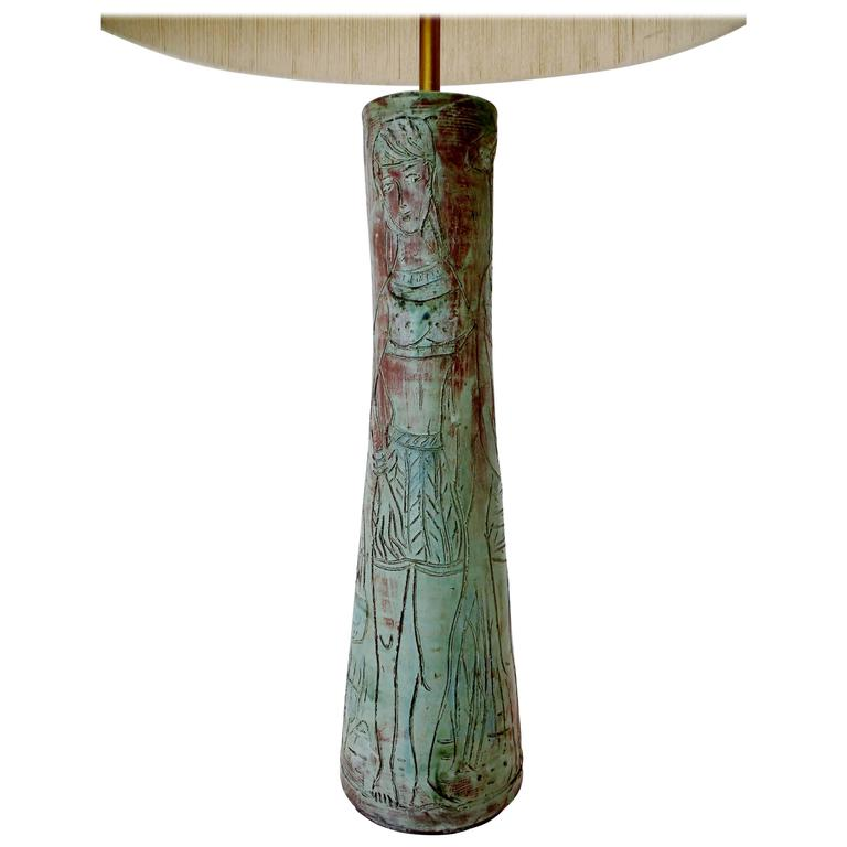 1950s Midcentury Studio Art Pottery Table Lamp Sgraffito Figural Decoration For Sale
