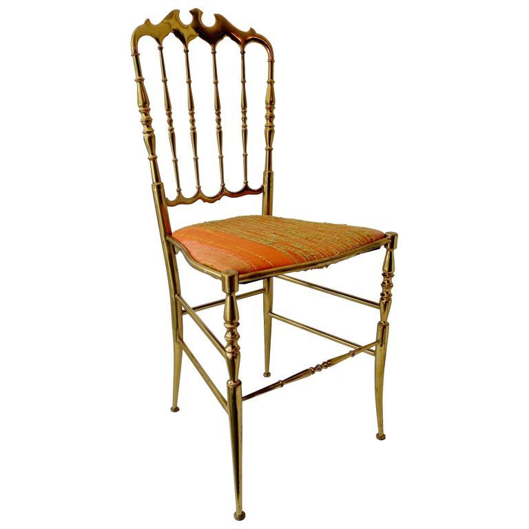 1960s Italian Brass Midcentury Hollywood Regency Chiavari Chair For Sale