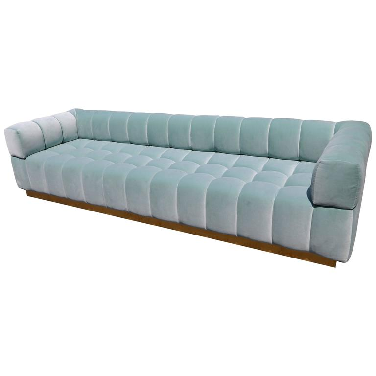 Custom Tufted Aqua Blue Velvet Sofa with Brass Base For Sale