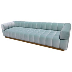 Custom Tufted Aqua Blue Velvet Sofa with Brass Base