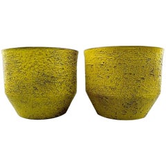 Ingrid Atterberg for Upsala-Ekeby a Pair of Flower Pots in Strong Yellow Glaze