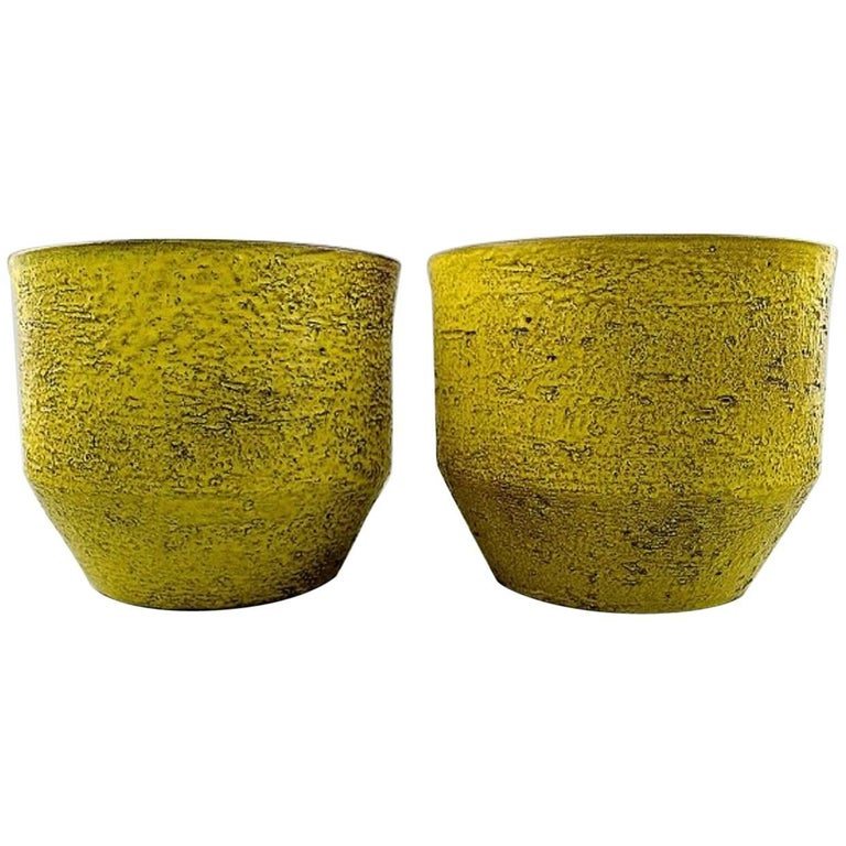 Ingrid atterberg for upsala ekeby a pair of flower pots in strong ingrid atterberg for upsala ekeby a pair of flower pots in strong yellow glaze for mightylinksfo