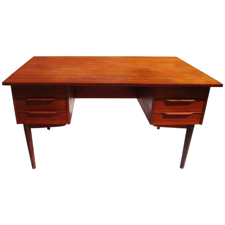 Danish Mid-Century Modern Teak Desk with Bookcase Front