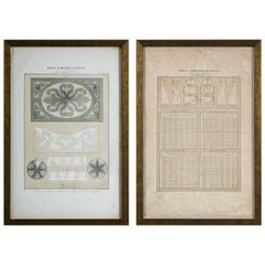 Pair of 19th Century Framed Parisian Drapery Pattern Charts by Jules Verdellet