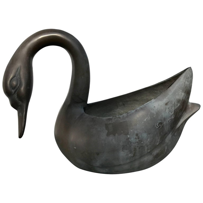 Japanese Fine Perfect Swan Form Planter Container Cast in Solid Bronze