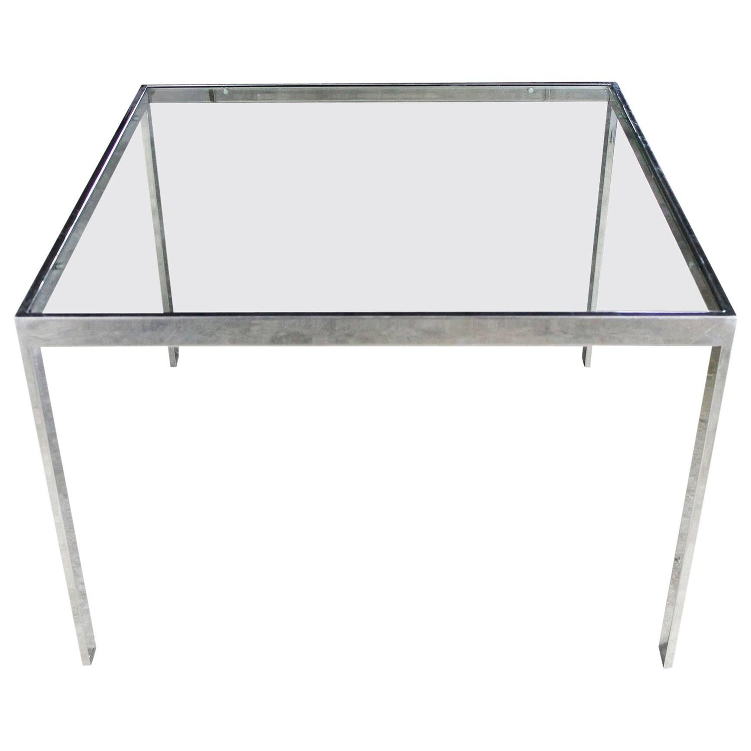 chrome and glass milo baughman attributed parsons style end table vintagemodern. midcentury modern baughman style chrome and glass end tables for
