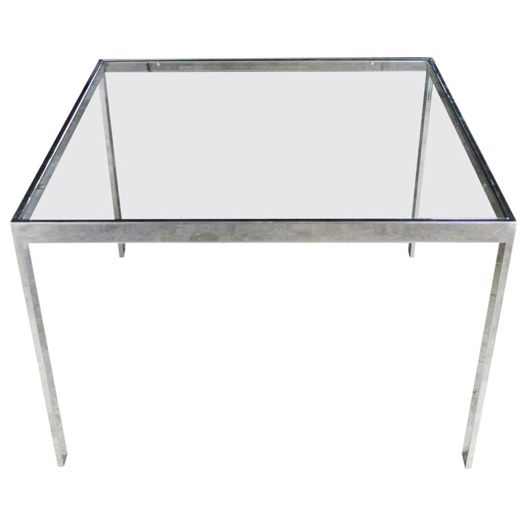 Chrome and Glass Milo Baughman Attributed Parsons Style End Table Vintage Modern