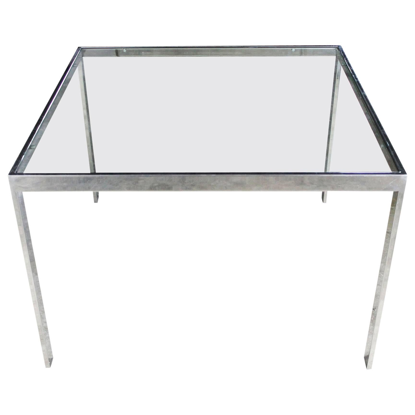 High Quality Chrome And Glass Milo Baughman Attributed Parsons Style End Table Vintage  Modern 1