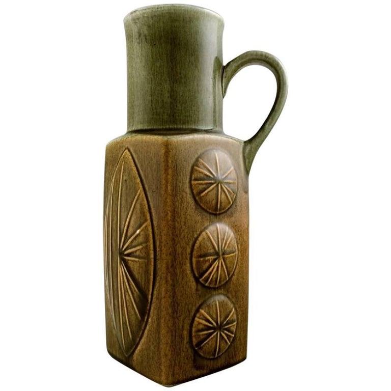 Large Rrstrand Ritzi Ceramic Vase Or Pitcher Sweden 1960s For