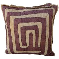 Aubergine & Wheat Colored Kuba Cloth Pillows, Pair