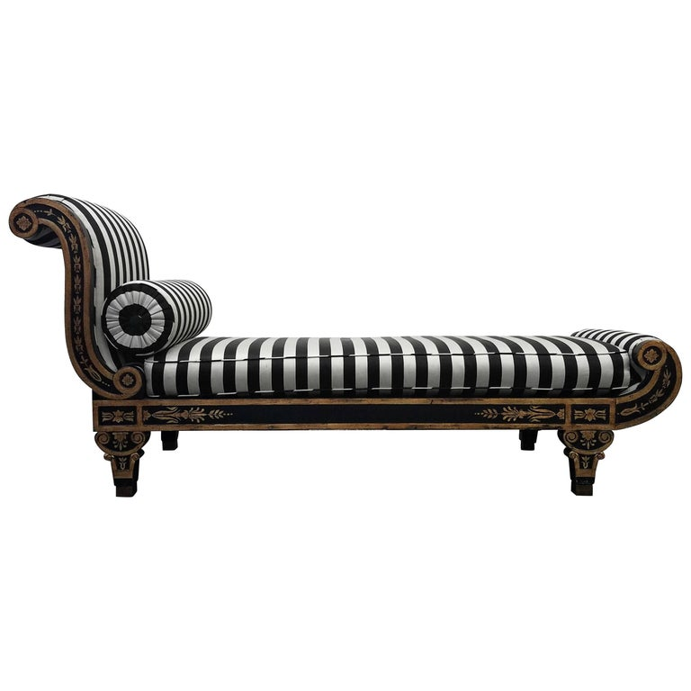 Vintage Regency Style Cleopatra Chaise Lounge Chair For Sale at