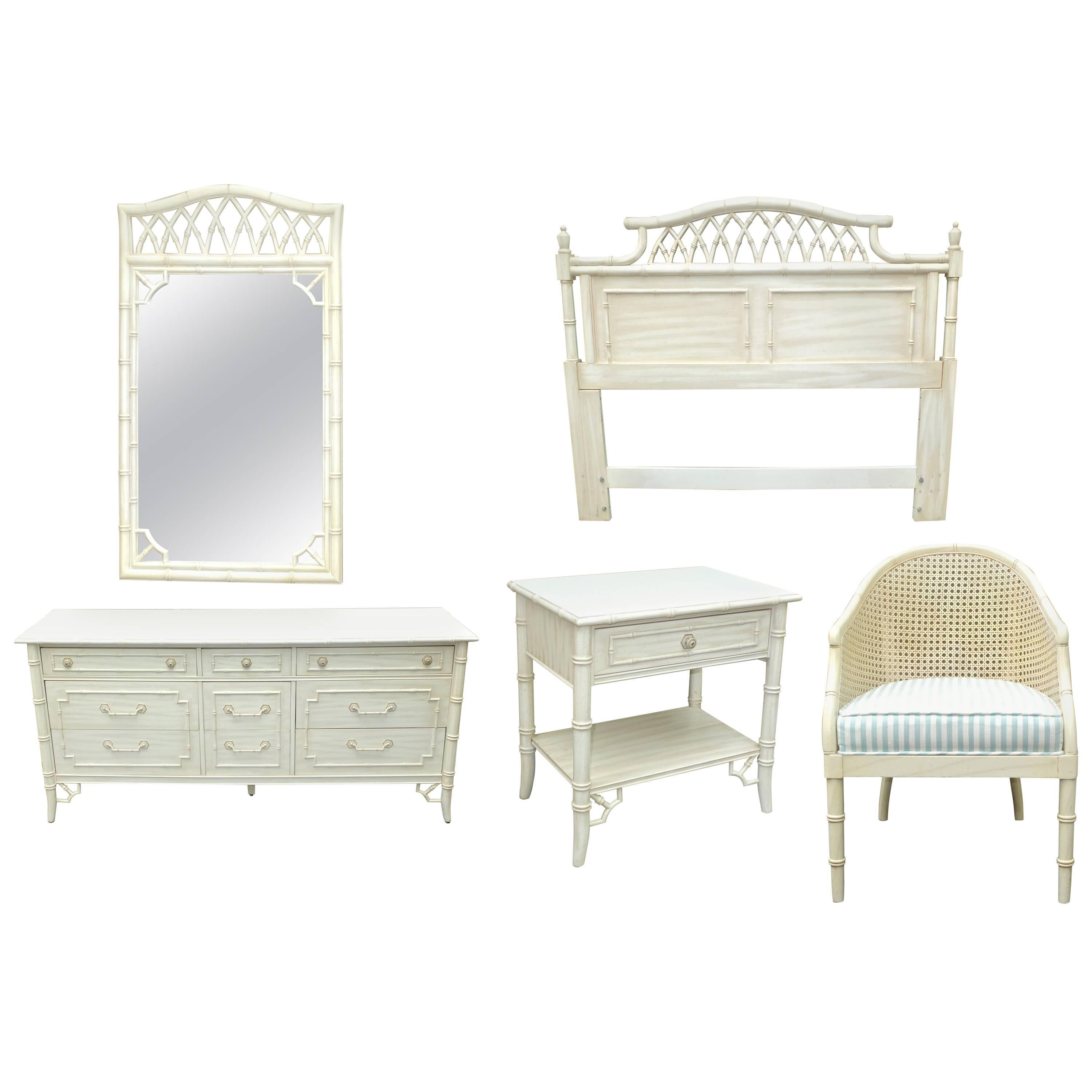 Faux Bamboo Queen Five Piece Bedroom Set By Thomasville Allegro At 1stdibs