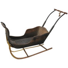 Antique Child's Push Sled with Original Finish and Hand-Painted Details