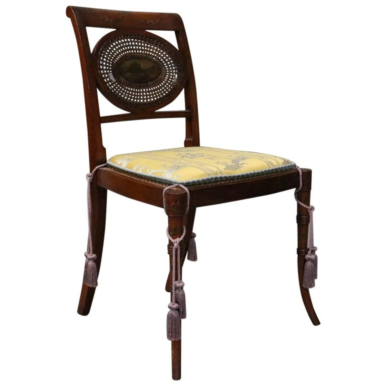 Antique English Regency Hand-Painted and Caned Mahogany Side Chair, circa 1890