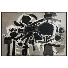 "Peter Rodriguez Bay Area Artist Abstract Painting ""Dia Negro"", 1960"