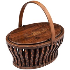 Antique Sewing Basket with shaped Sycamore Handle