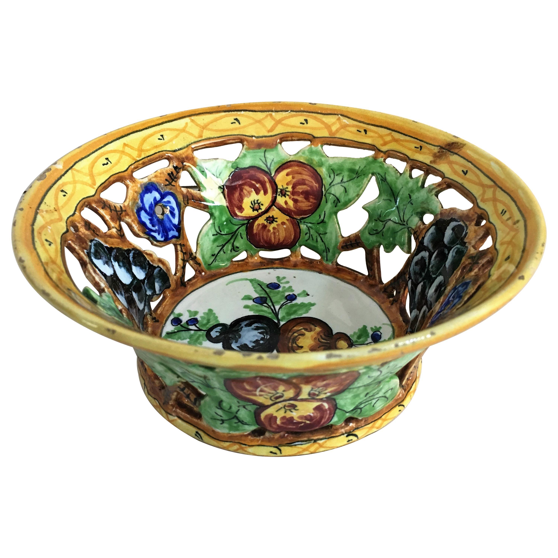 20th Century Decorative Flowers Ceramic Bowl