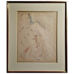 "Jean Cocteau ""The Bather"" Drawing, 1951"