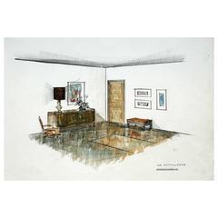 """Vintage Interior Designer Sketch, """"Dormirtorio"""""""
