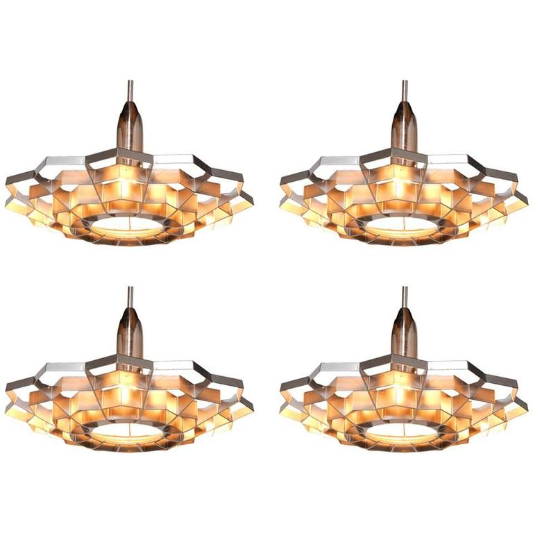 Set of Four Snowflake Pendant Lights For Sale