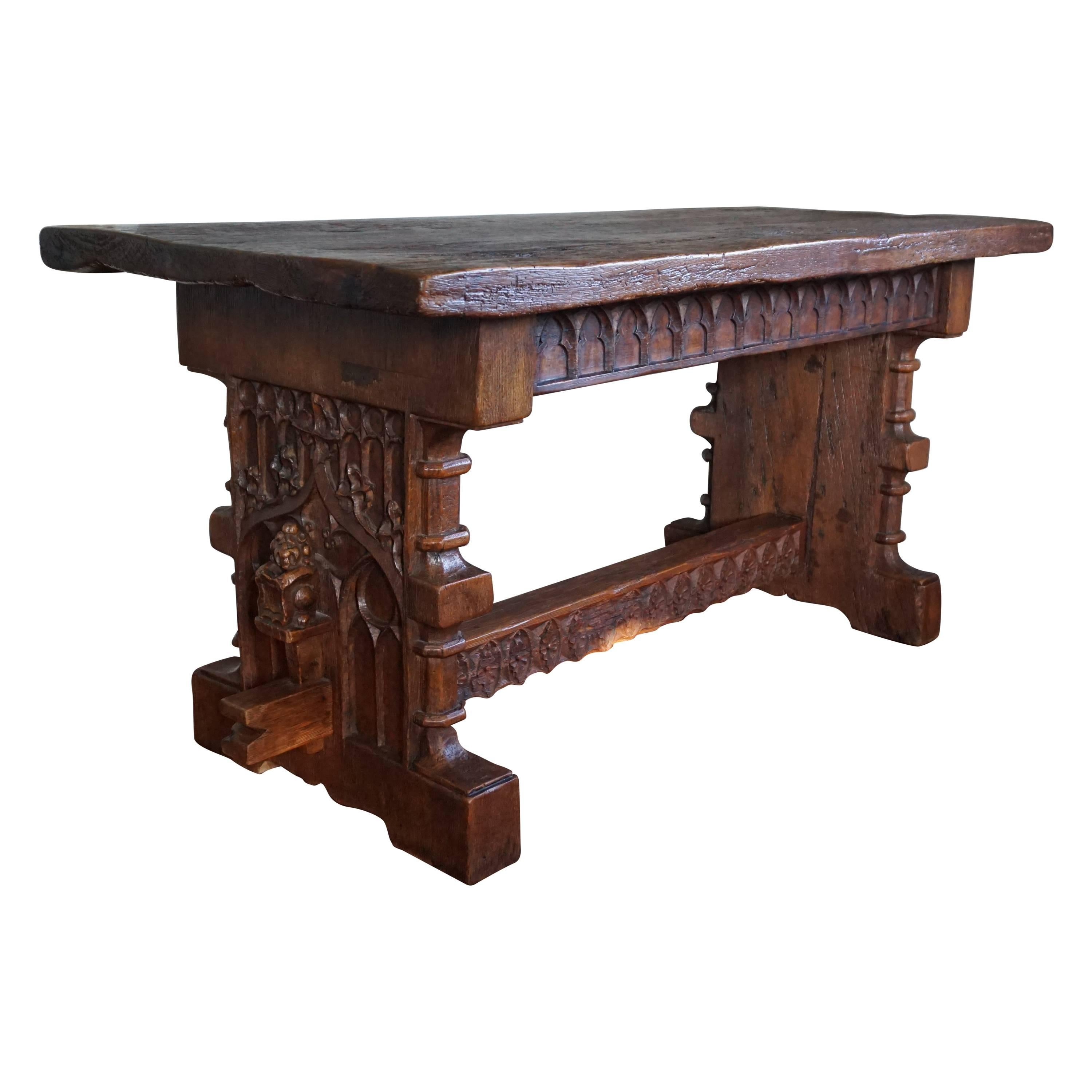 Antique Hand Carved Gothic Revival Refectory Table Or Side Table For Sale