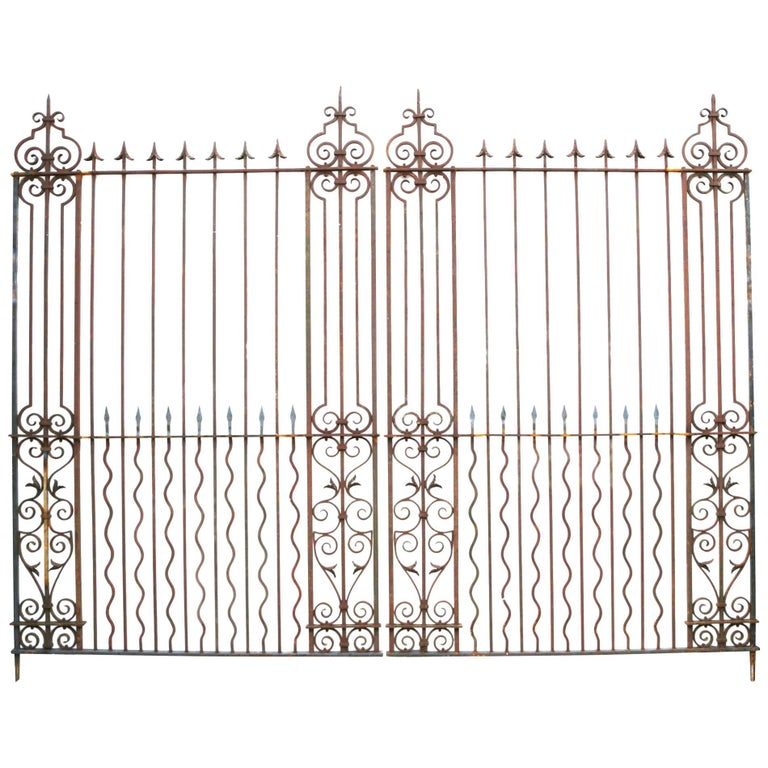 Pair of Grand Wrought Iron Driveway Gates For Sale