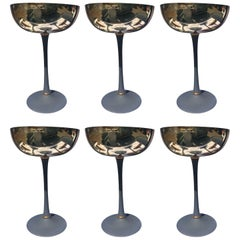 Free Shipping,Designed Six Silver Plated, Chromatic Champagne  Glasses