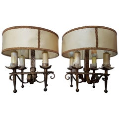 Two Vintage Spanish Ferro Art Gilded Metal Light Fixtures
