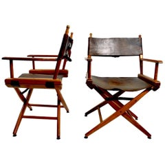 Pair of Folding Campaign Directors Chairs in Leather