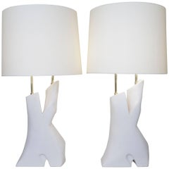 Late 20th Century Pair of White Un-Enameled Ceramic Table Lamp by Dorion