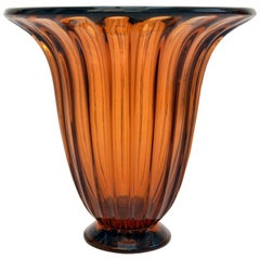 Large 1930s Daum Urn Shape Vase in Amber Glass