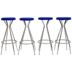 Blue Barstools 1950s Austria Set of Four