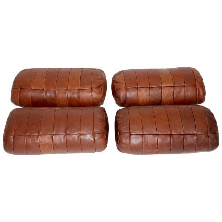 Set of Four De Sede Cognac Leather Pillows, 1970s, Switzerland