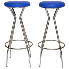 Blue Barstools 1950s Austria Set of Two