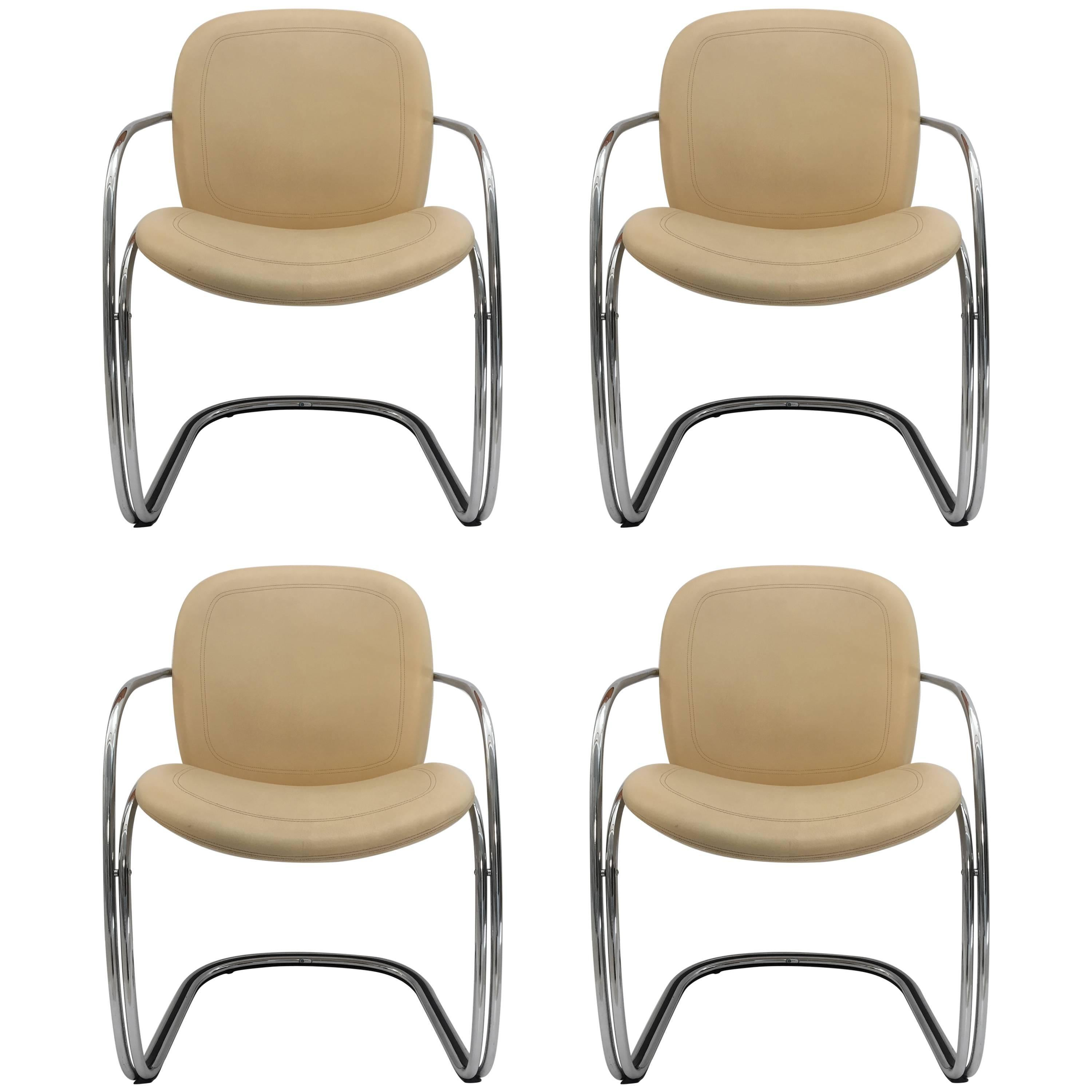Set of Six Vintage and Chrome Chairs Design Gastone Rinaldi at 1stdibs