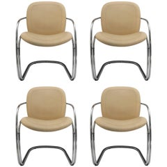 Gastone Rinaldi Italian Chrome and Leather Chairs, Set of Four