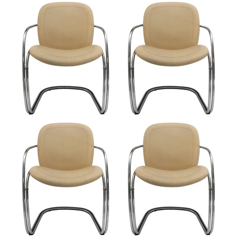 Italian Chrome and Leather Chairs, by Gastone Rinaldi for RIMA, circa 1970s